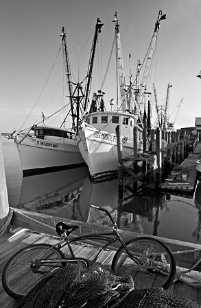 Shrimpboats and Bike, Fernandina  080705-A63-BW : Black and White : Will Dickey Florida Nature Photography - Images of Florida's First Coast - Nature and Landscape Photographs of Jacksonville, St. Augustine, Florida nature preserves