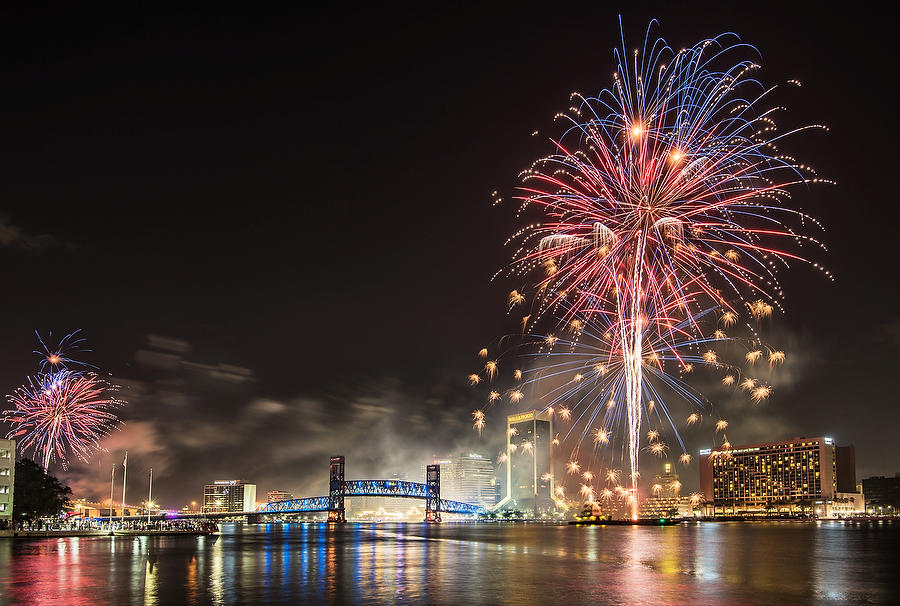 Jacksonville Fireworks 070417-33 : Panoramas and Cityscapes : Will Dickey Florida Nature Photography - Images of Florida's First Coast - Nature and Landscape Photographs of Jacksonville, St. Augustine, Florida nature preserves