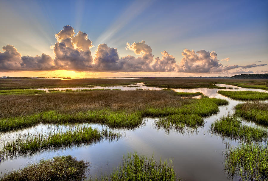 Round Marsh Sunrise 082411-175 : Timucuan Preserve  : Will Dickey Florida Fine Art Nature and Wildlife Photography - Images of Florida's First Coast - Nature and Landscape Photographs of Jacksonville, St. Augustine, Florida nature preserves