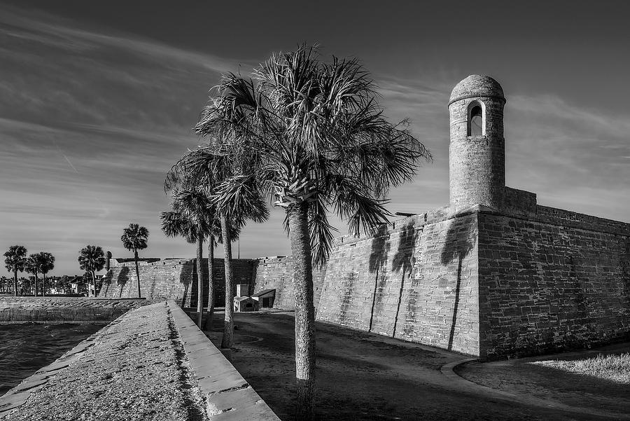 Castillo de San Marcos 031117-134BW : Black and White : Will Dickey Florida Nature Photography - Images of Florida's First Coast - Nature and Landscape Photographs of Jacksonville, St. Augustine, Florida nature preserves