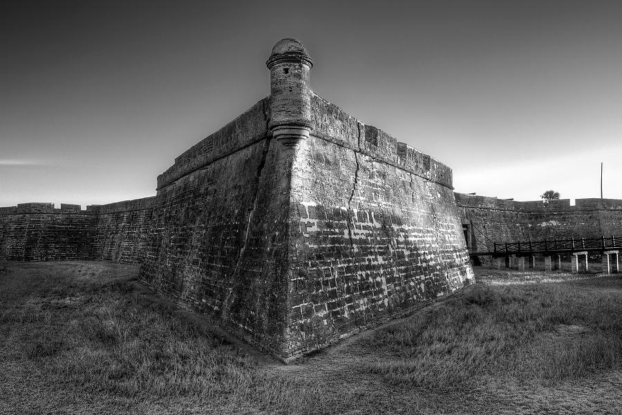 Castillo de San Marcos 031117-80BW : Black and White : Will Dickey Florida Nature Photography - Images of Florida's First Coast - Nature and Landscape Photographs of Jacksonville, St. Augustine, Florida nature preserves