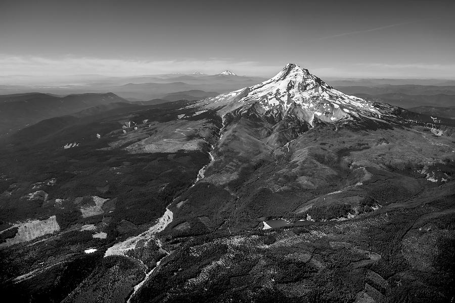 Mt. Hood Aerial    070315-107BW : Black and White : Will Dickey Florida Nature Photography - Images of Florida's First Coast - Nature and Landscape Photographs of Jacksonville, St. Augustine, Florida nature preserves